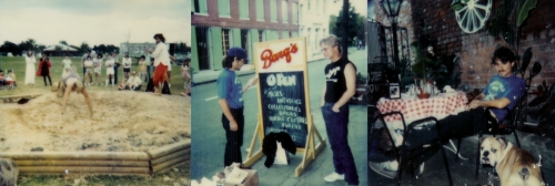 (Right) Doing the Sturdy Beggars Mud Show. (Center) The author and Ross Salinger in the French Quarter. (Right) John Goodrich relaxes in the courtyard of Napoleon House.