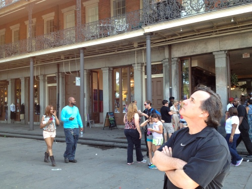 Dad gazes upward toward Jackson Square in the French Quarter.