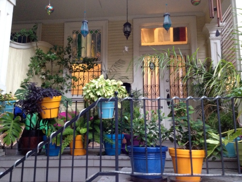 Typical French Quarter architecture and porch gardening.