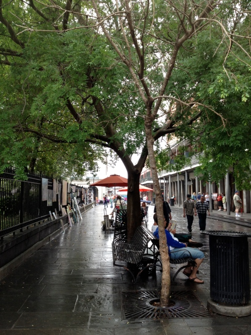 The street scene on the east side of Jackson Square.