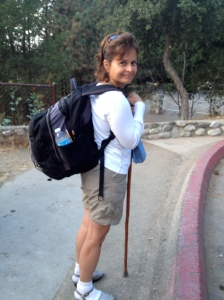 Victoria at the trailhead, ready for adventure.