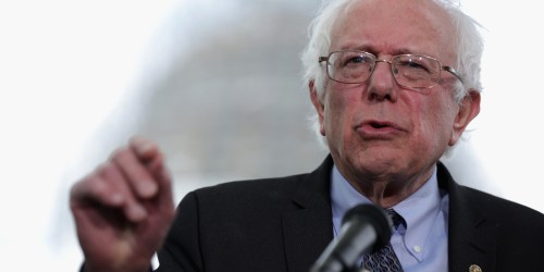 WASHINGTON, DC - APRIL 30: U.S. Sen. Bernard Sanders (I-VT) speaks on his agenda for America during a news conference on Capitol Hill April 30, 2015 in Washington, DC. Sen. Sanders sent out an e-mail earlier to announce that he will run for U.S. president. (Photo by Alex Wong/Getty Images)